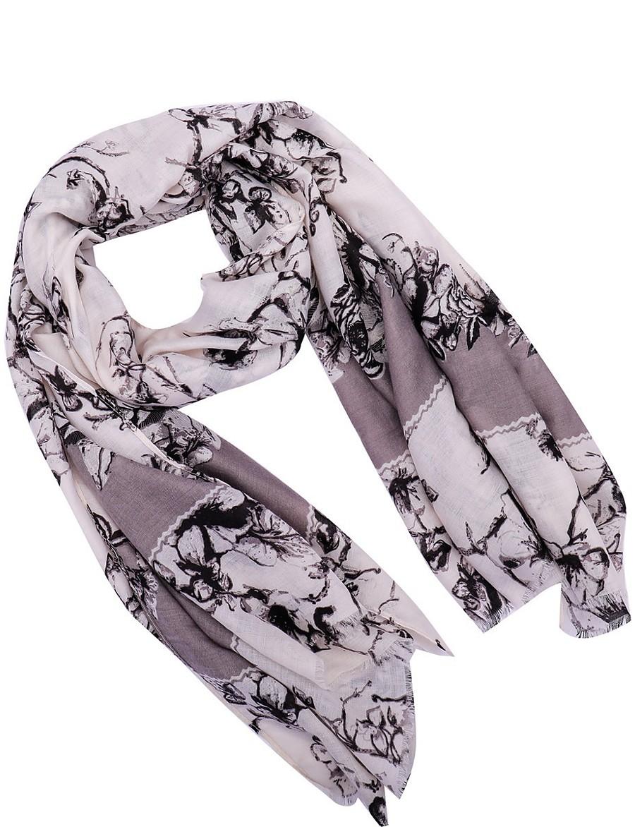 Femme Actif Polyester Foulard Rectangulaire - Fleurie Lavable