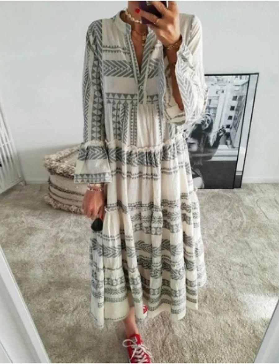 Women's Swing Dress Maxi long Dress Red Gray 3/4 Length Sleeve Geometric Print Summer V Neck Hot Casual Boho Flare Cuff Sleeve 2021 S M L XL XXL 3XL
