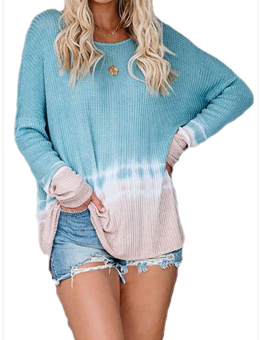 Women's Basic Knitted Geometric Pullover Long Sleeve Loose Oversized Sweater Cardigans Crew Neck Round Neck Fall Blue