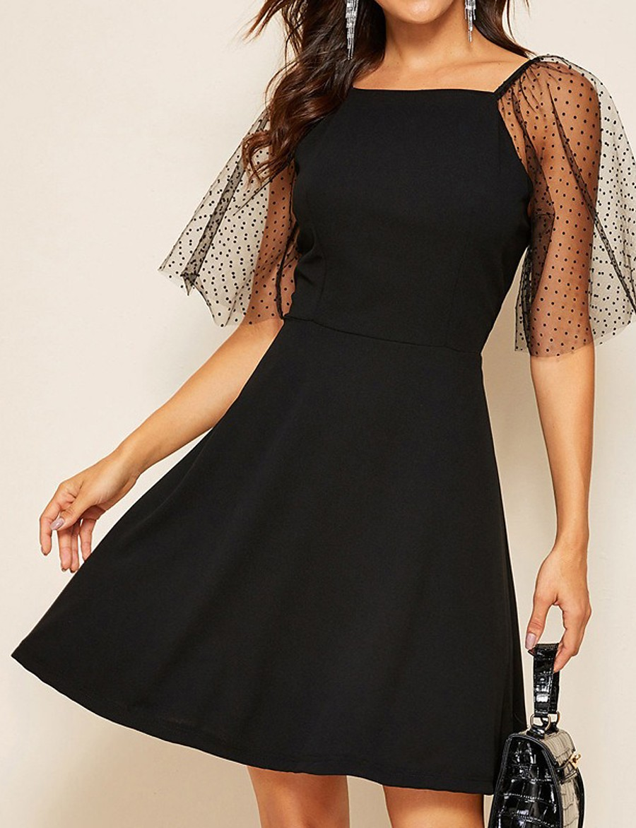Women's A-Line Dress Knee Length Dress - Short Sleeve Solid Color Mesh Summer Square Neck Casual Daily 2020 Black S M L XL XXL