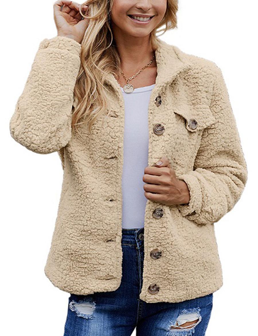 Women's Fall & Winter Teddy Coat Regular Solid Colored Daily Basic Black Khaki Gray S M L XL
