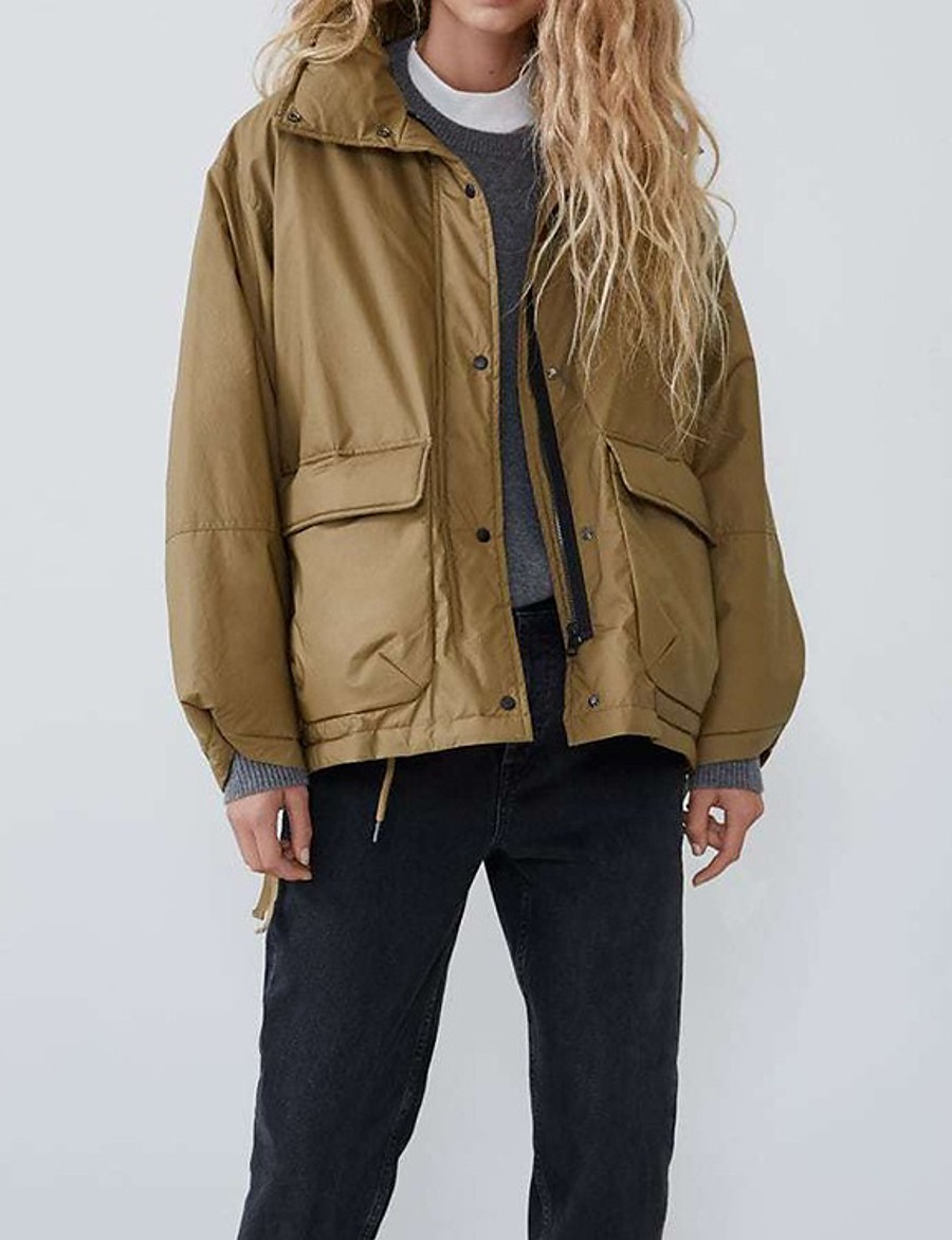 Women's Jacket Short Solid Colored Daily Basic Khaki XS S M L