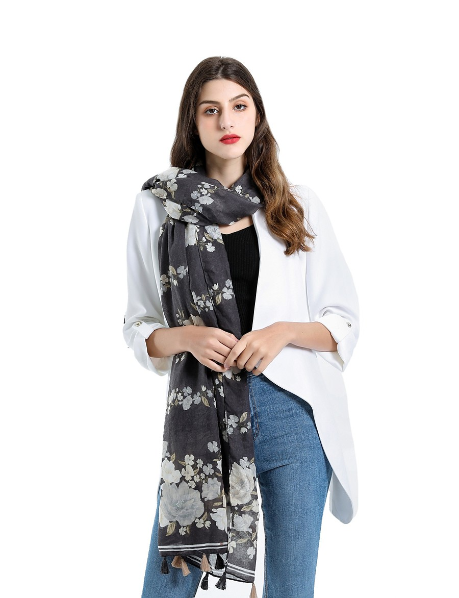 Women's Tassel Rectangle Scarf - Floral Washable