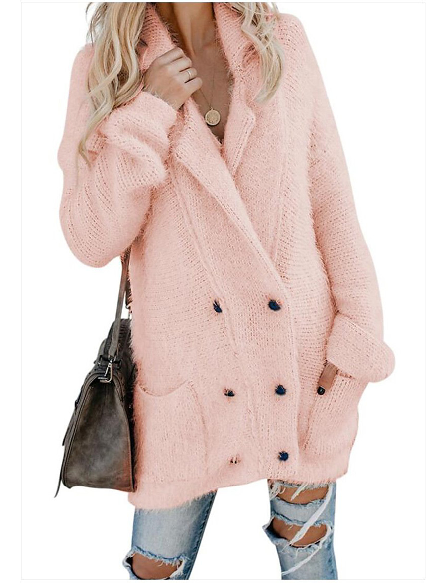 Women's Double Breasted Winter Teddy Coat Long Solid Colored Daily Basic Blushing Pink Brown Gray S M L