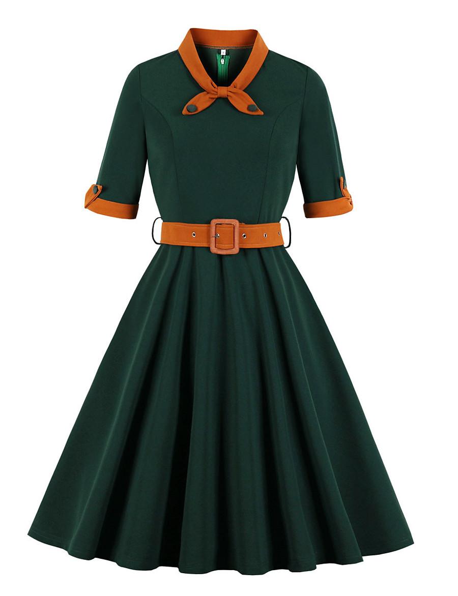 Women's Swing Dress Knee Length Dress - Half Sleeve Print Patchwork Zipper Print Fall V Neck Vintage Daily Slim 2020 Blue Purple Yellow Green S M L XL XXL