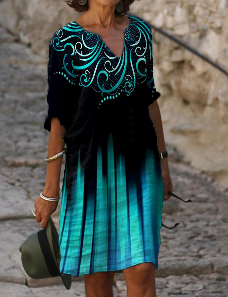 Women's Shift Dress Knee Length Dress Blue Half Sleeve Floral Tie Dye Print Summer V Neck Casual Loose 2021 M L XL XXL 3XL