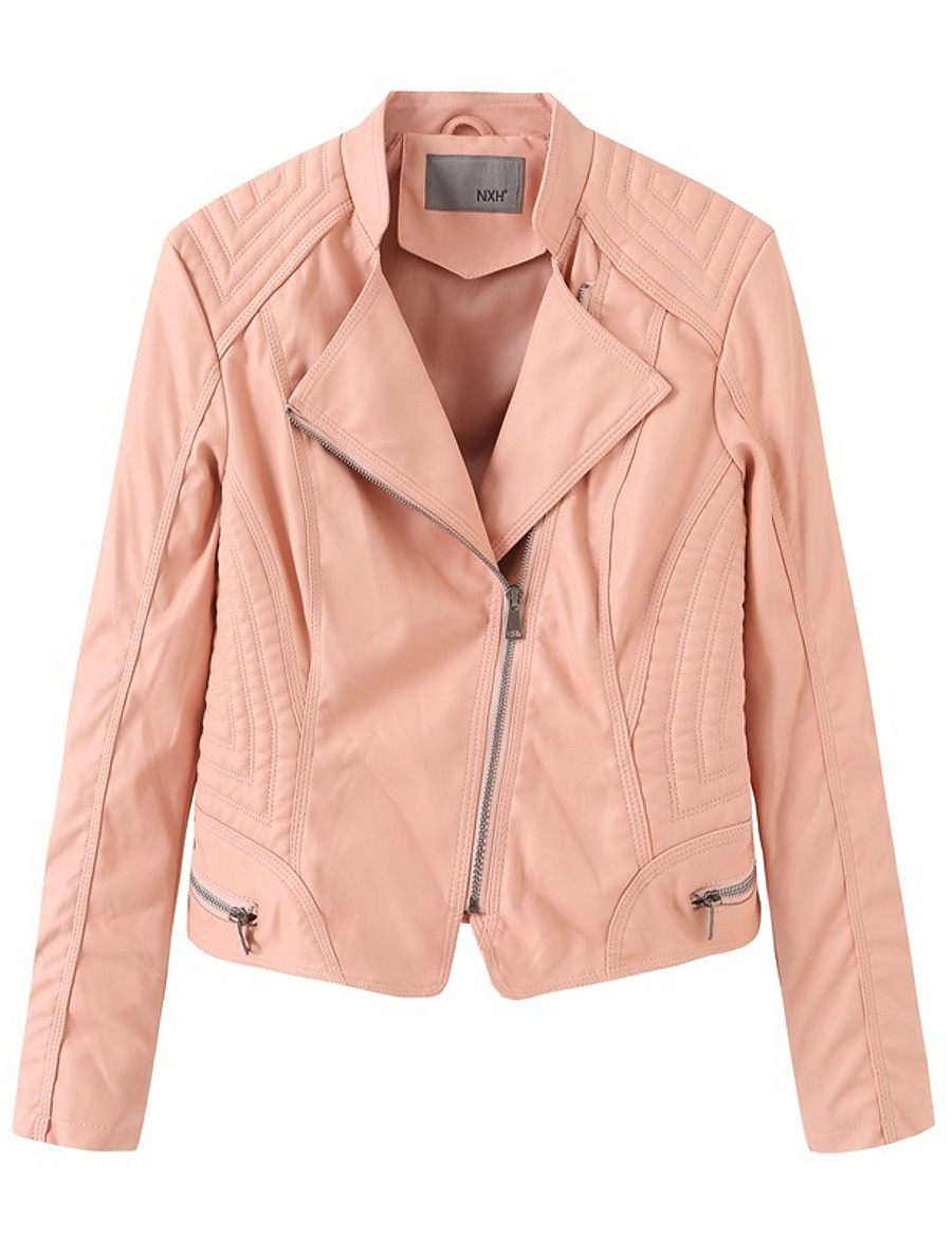 Women's Stand Collar Faux Leather Jacket Regular Solid Colored Daily Basic Black Yellow Blushing Pink Khaki S M L XL