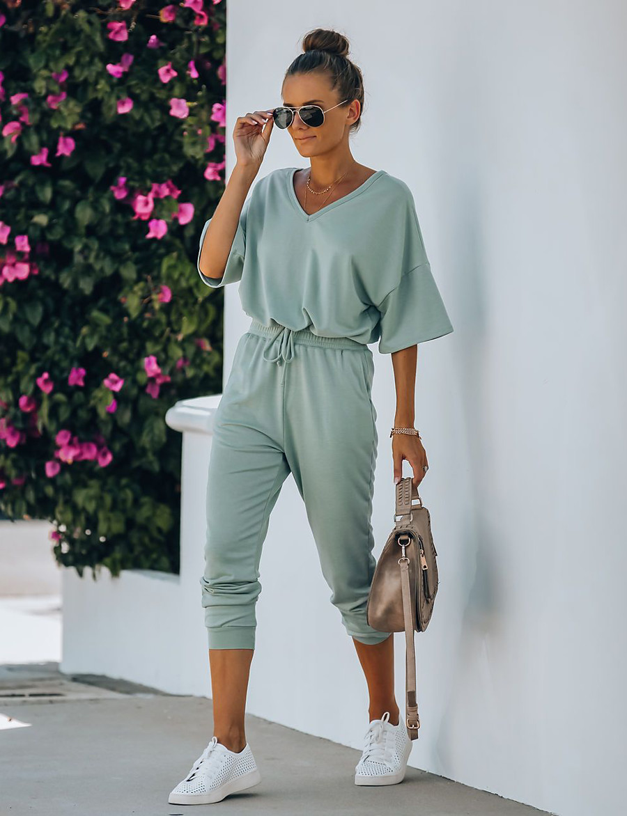 Women's Home Cotton Blend Normal T-shirt Pant V Neck Suits Half Sleeve Basic Spring & Summer Solid Colored S Green