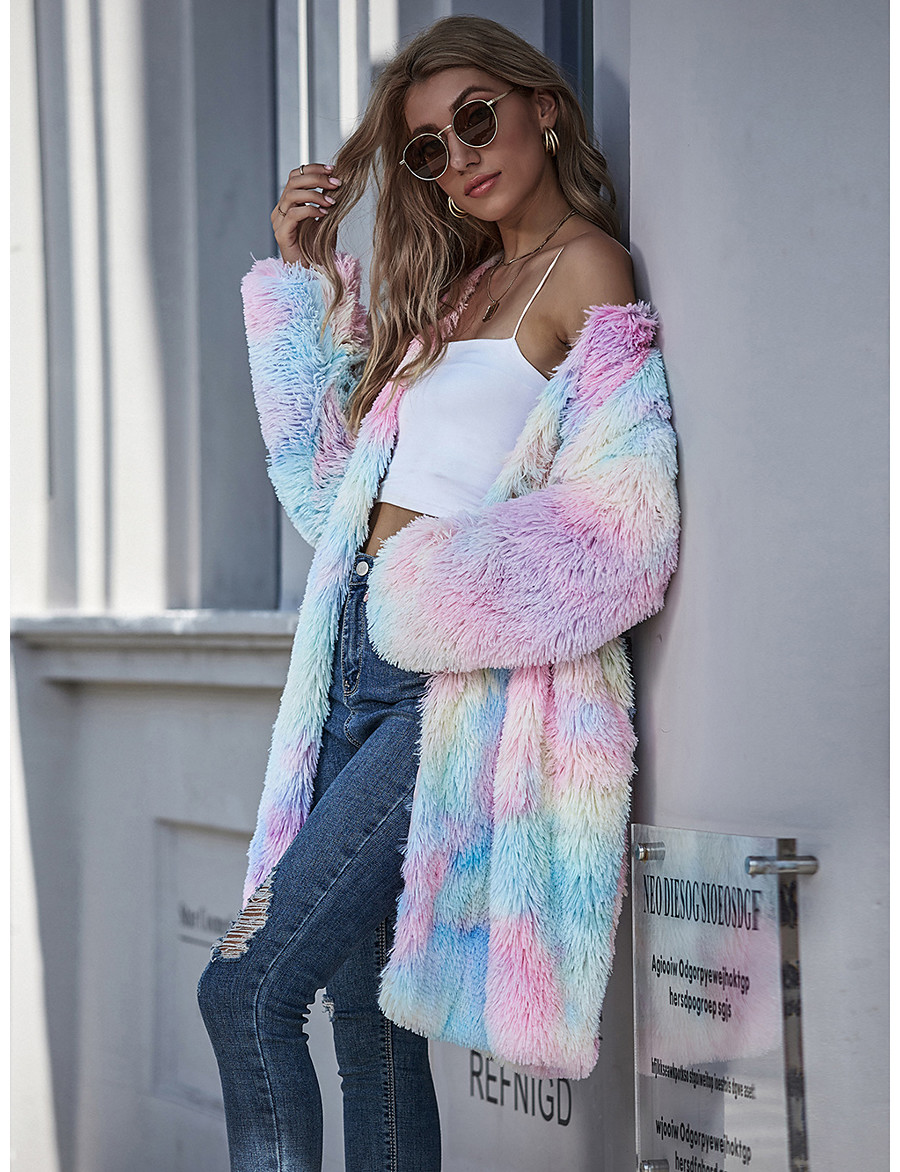 Women's Fall & Winter Teddy Coat Long Tie Dye Going out Basic Patchwork Blushing Pink S M L XL / Print