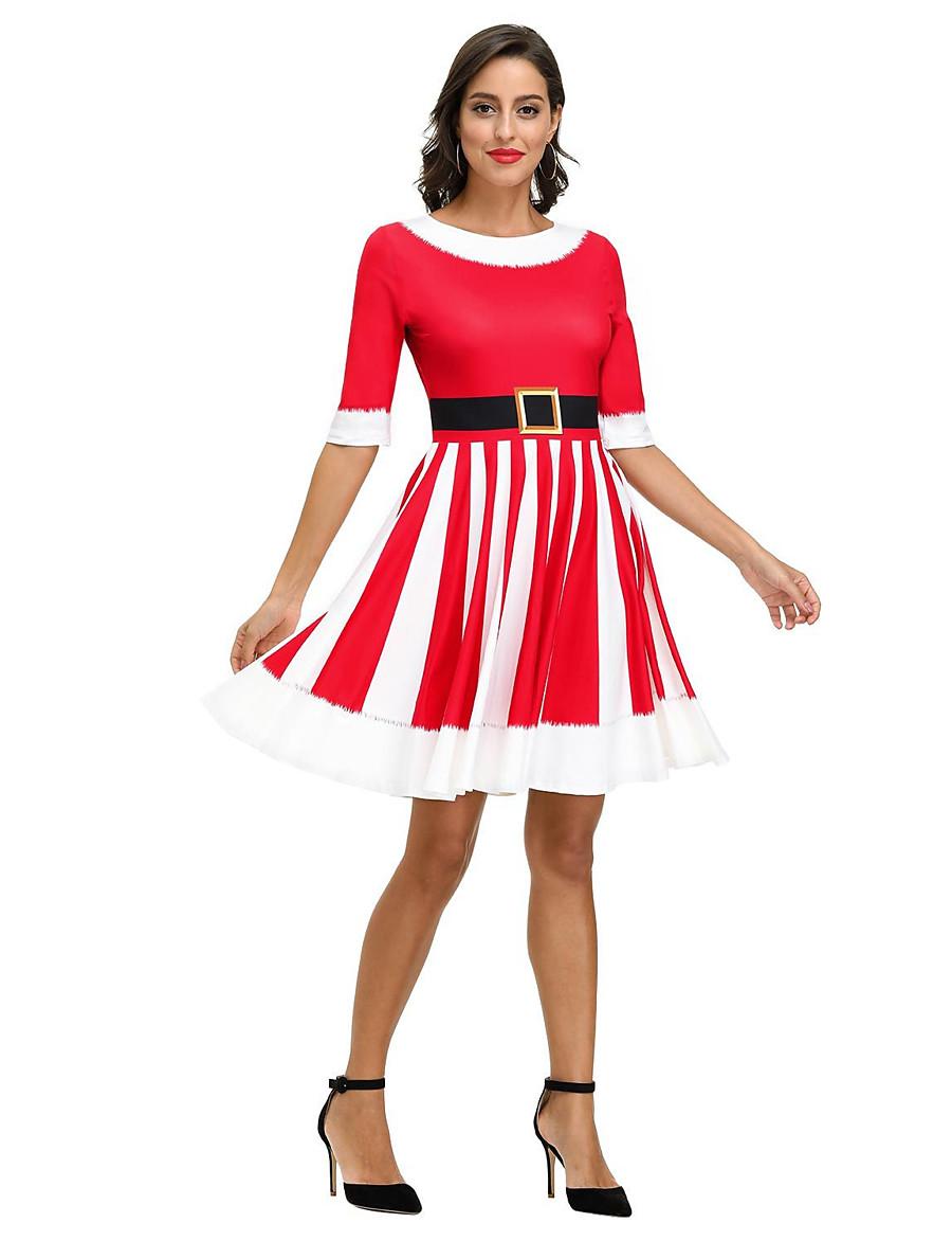 Women's A-Line Dress Short Mini Dress - 3/4 Length Sleeve Print Print Fall Vintage Vacation 2020 Red Wine S M L XL