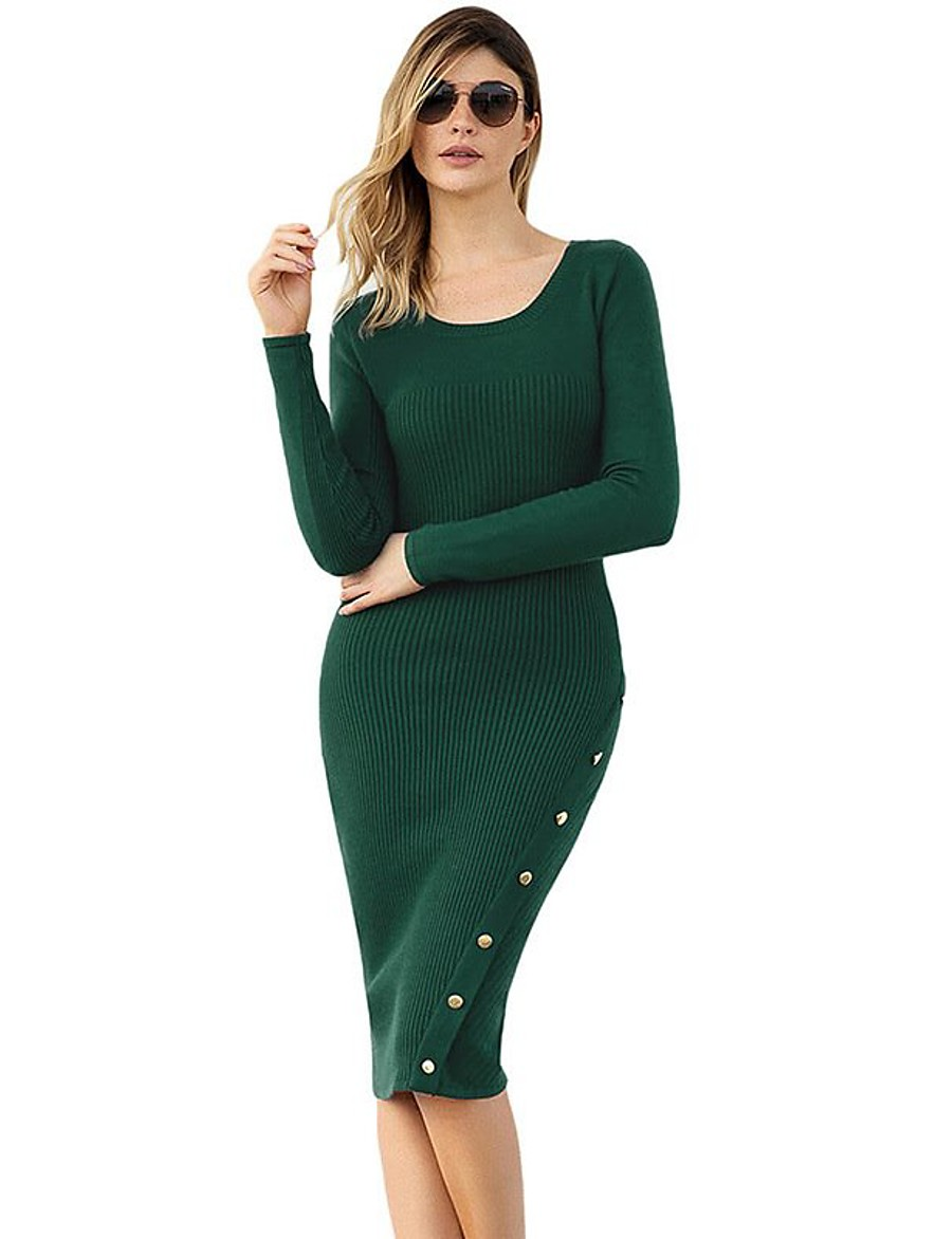 Women's Basic Knitted Solid Colored Dress Sweater Dress Acrylic Fibers Long Sleeve Sweater Cardigans U Neck Winter Black Green