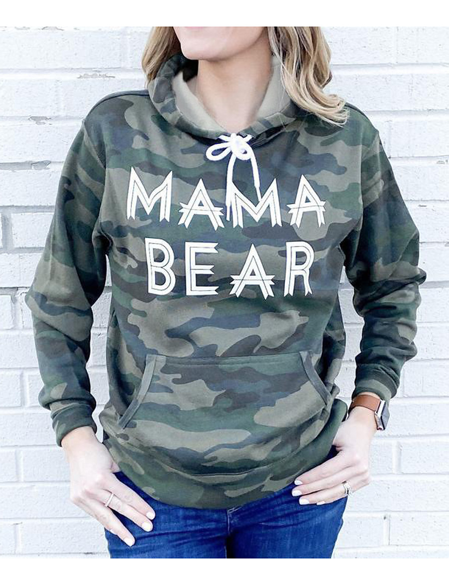 Women's Daily Pullover Hoodie Sweatshirt Camouflage Casual Hoodies Sweatshirts  Army Green