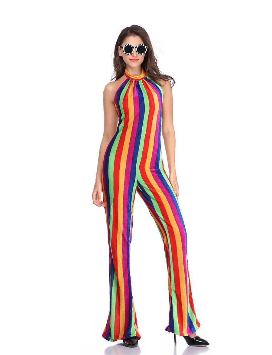 Women's Basic Rainbow Jumpsuit Striped Rainbow Patchwork