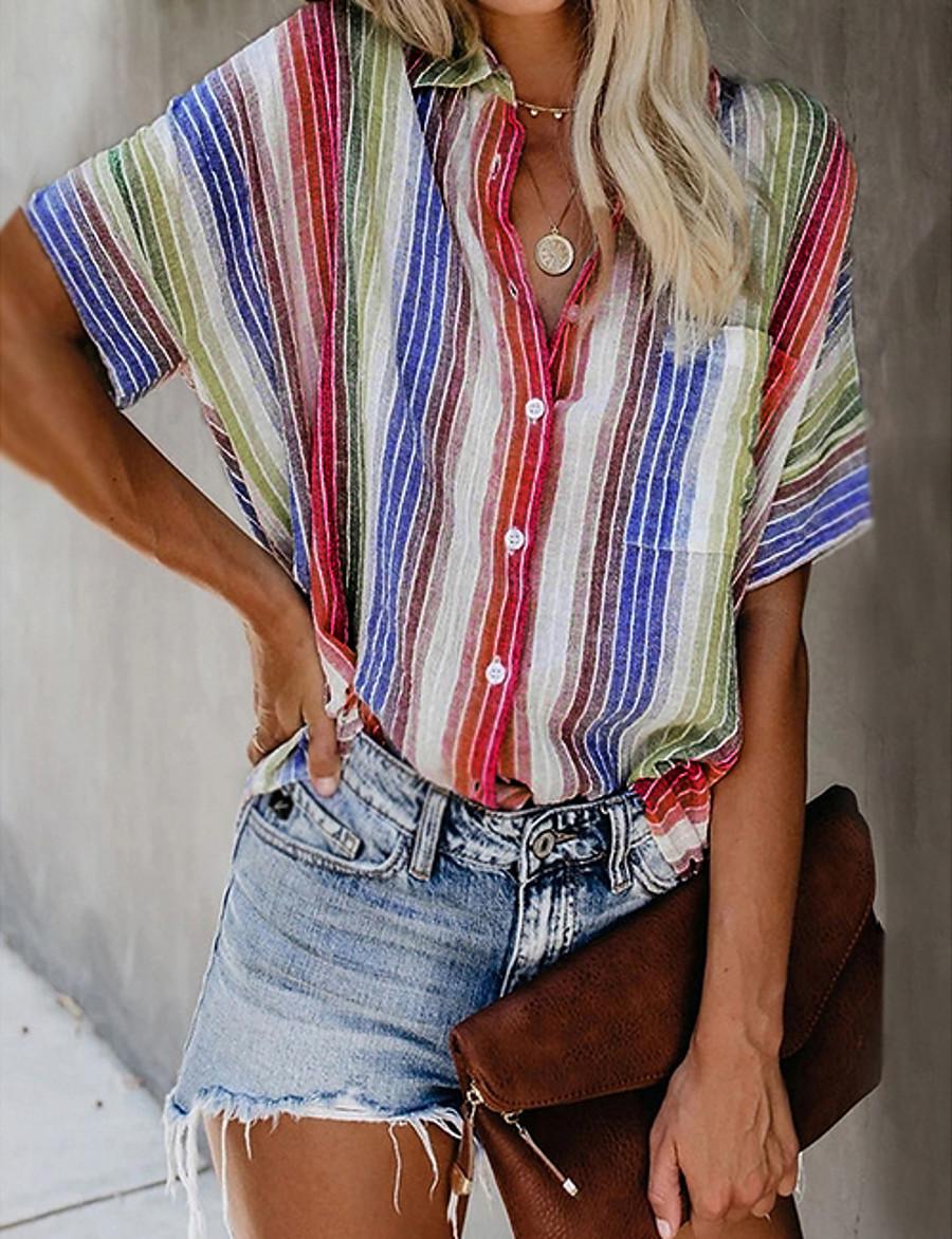 Women's Blouse Shirt Striped Patchwork Print Shirt Collar Tops Basic Top White Orange Light Blue