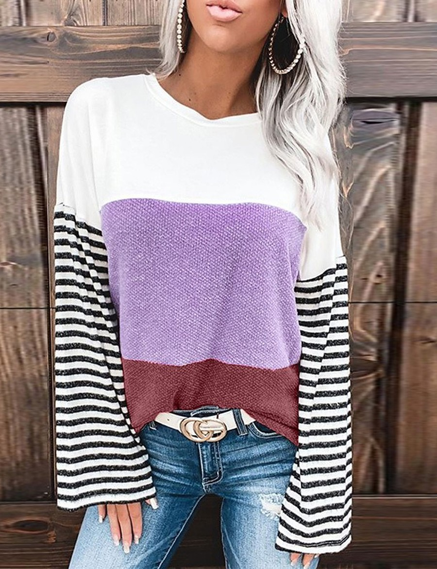 Women's Blouse Shirt Striped Color Block Long Sleeve Patchwork Round Neck Tops Loose Basic Basic Top Purple