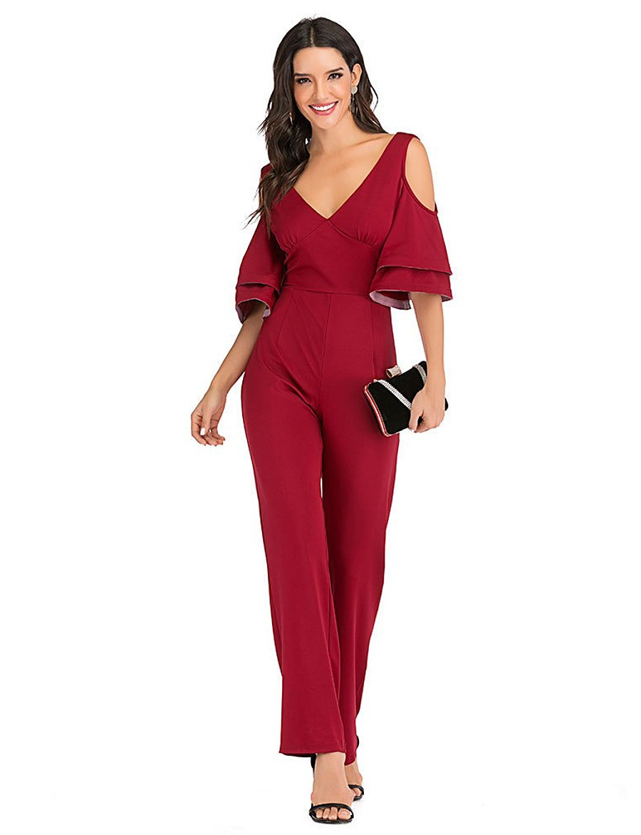 Women's Ordinary V Neck Black Red Romper Solid Colored Ruffle Patchwork