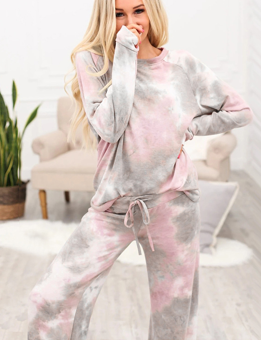 Women's Basic Tie Dye Two Piece Set Set Pant Drawstring Tops