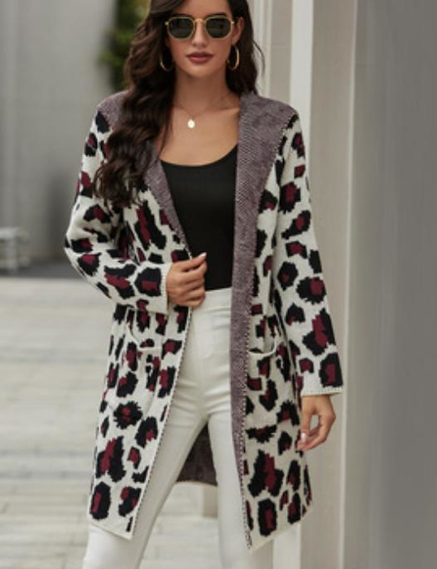 Women's Basic Knitted Leopard Cheetah Print Cardigan Long Sleeve Loose Sweater Cardigans Hooded Fall Winter Purple Army Green Khaki