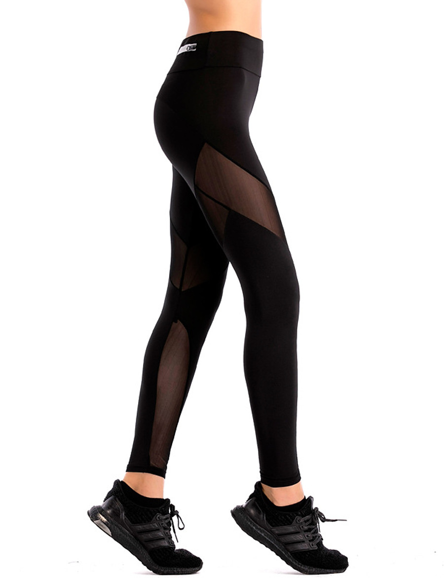 Women's Sporty Sports Slim Daily Sweatpants Pants Solid Colored Full Length Mesh Black