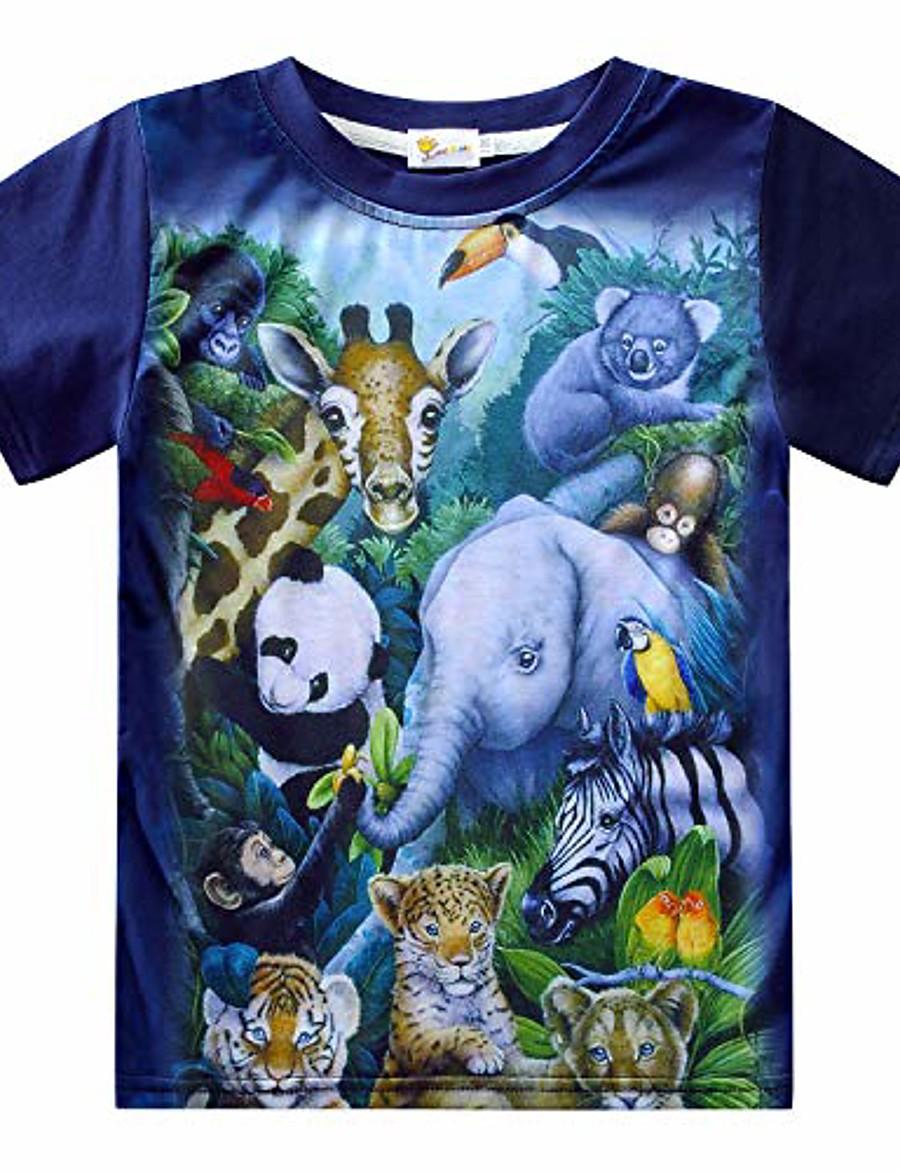 Kid's Boys' T shirt Short Sleeve Animal Cat Dinosaur zoo Children Tops Summer Chic & Modern
