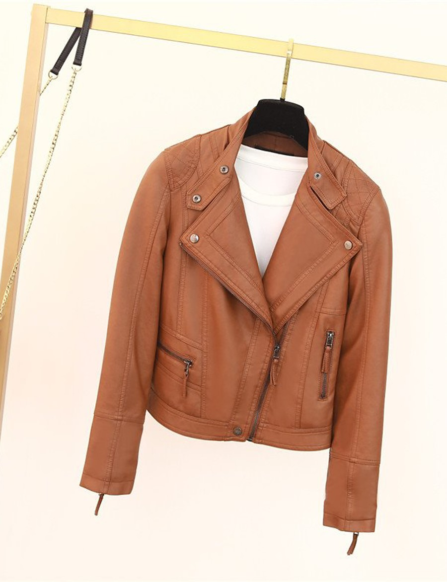 Women's Zipper Stand Collar Spring Faux Leather Jacket Short Solid Colored Daily Basic Black Brown S M L