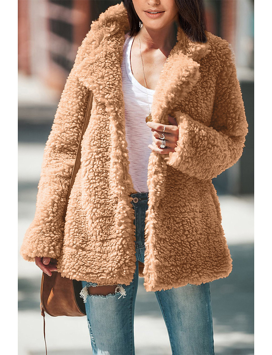 Women's Teddy Coat Long Solid Colored Daily Basic Black Brown S M L XL
