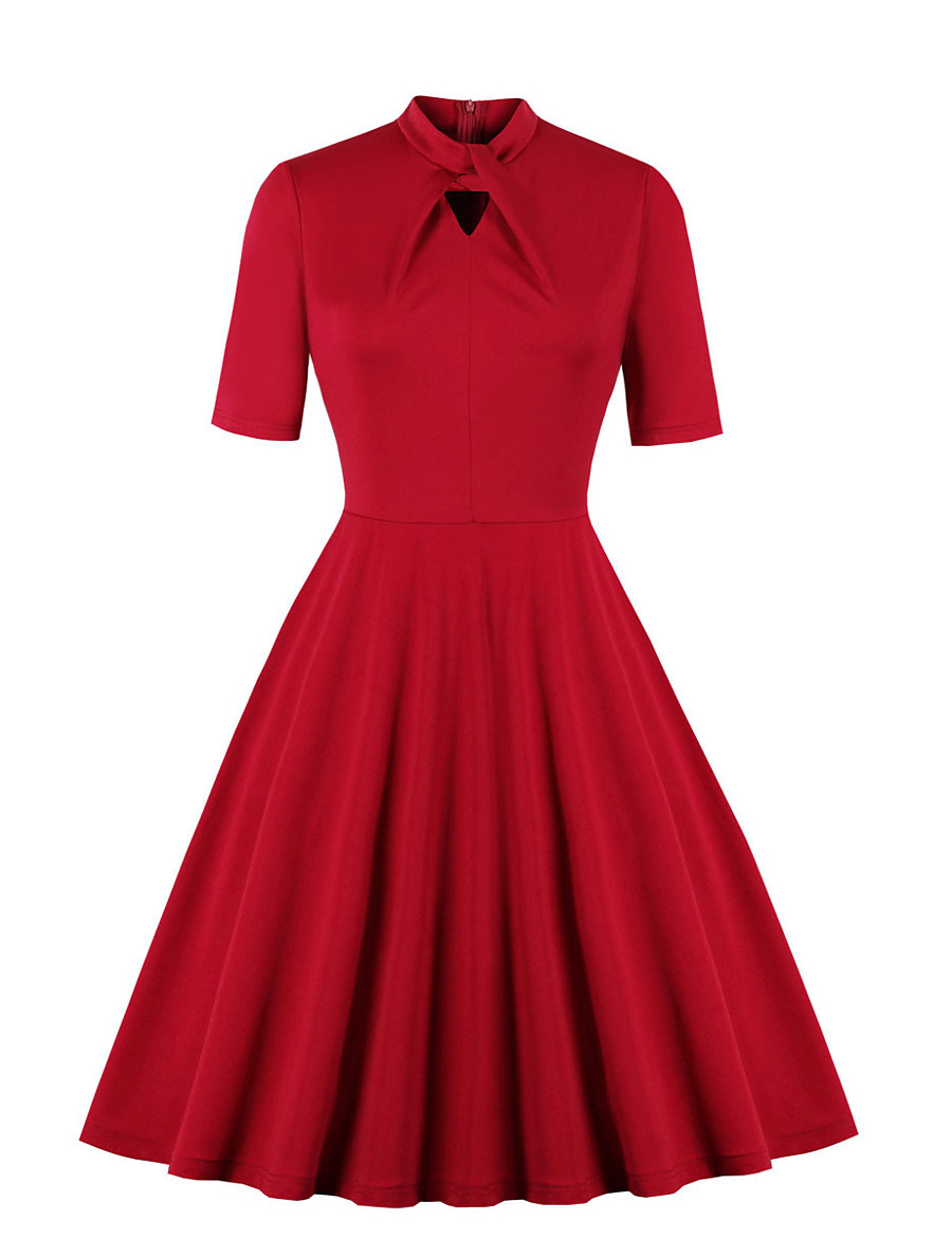 Women's Swing Dress Knee Length Dress - Short Sleeve Solid Color Patchwork Zipper Print Fall Vintage Daily Slim 2020 Red S M L XL XXL