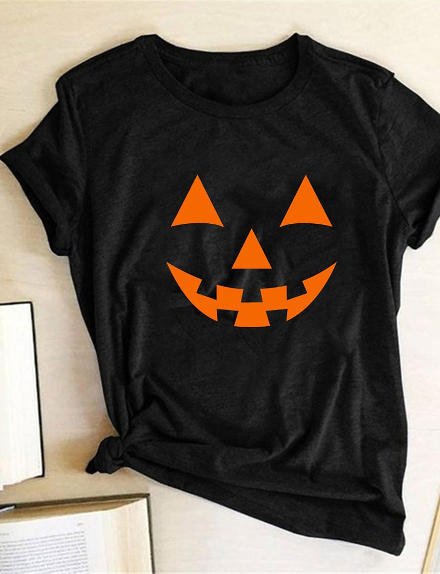 Women's Halloween T-shirt Abstract Pumpkin Print Round Neck Tops Basic Halloween Basic Top White Black Red