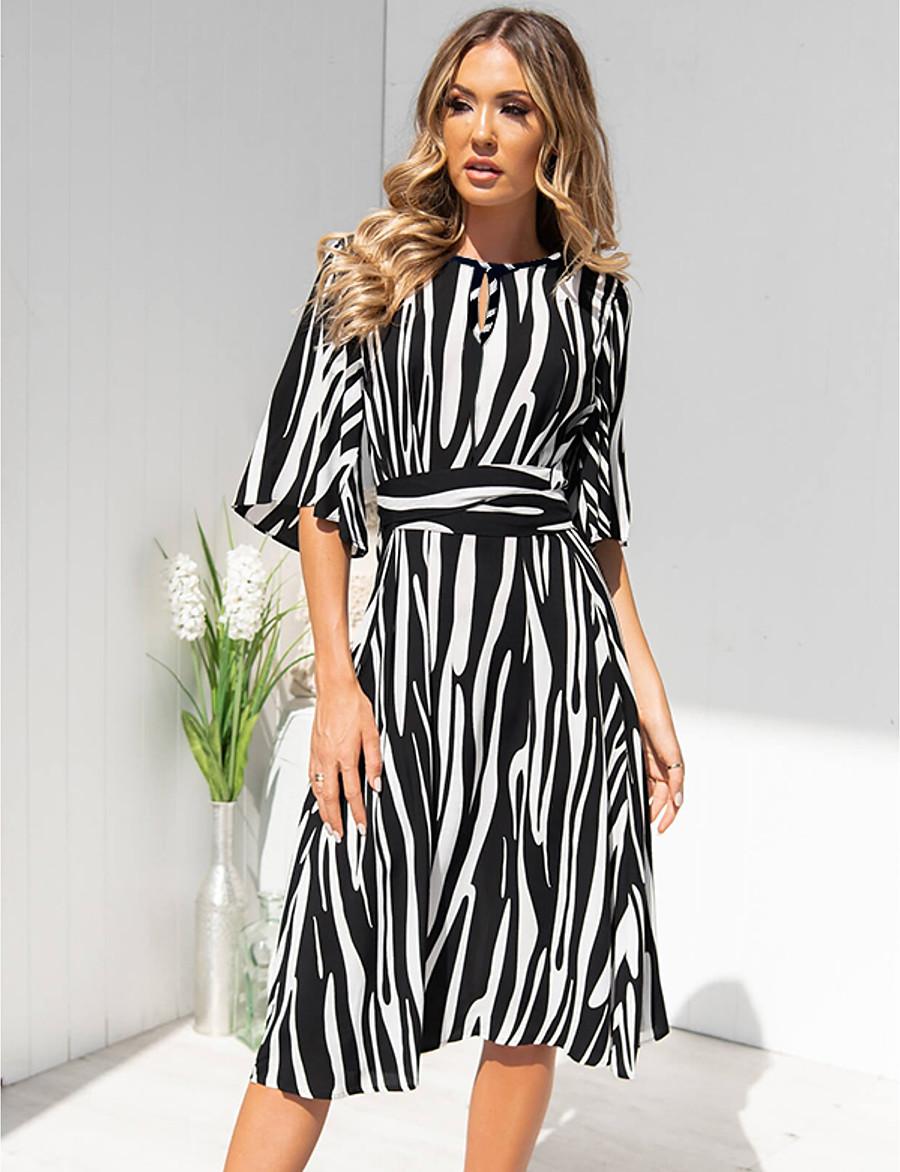 Women's A-Line Dress Knee Length Dress - Half Sleeve Striped Summer Casual 2020 Black Blue Yellow S M L XL