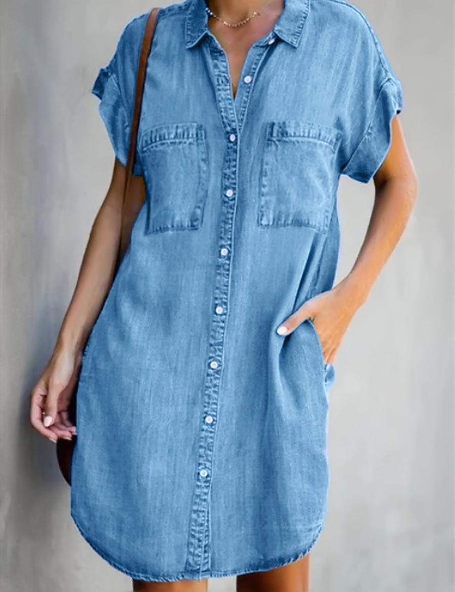 Women's Denim Shirt Dress Short Mini Dress - Short Sleeve Pocket Summer Shirt Collar Hot Casual Denim 2020 Light Blue S M L XL XXL