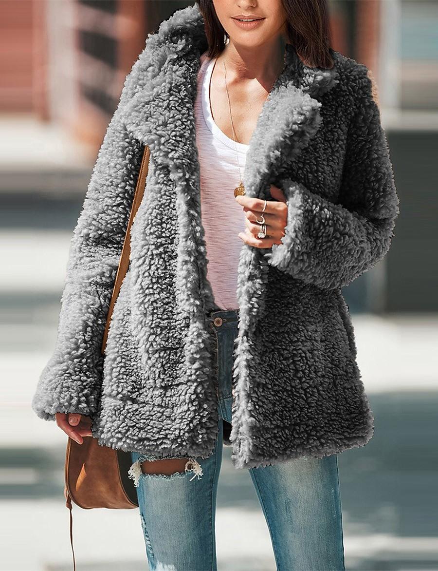 Women's Fall & Winter Single Breasted Teddy Coat Regular Solid Colored Daily Basic Fur Trim Black Khaki Gray M L XL XXL / Loose
