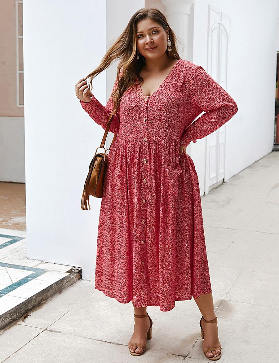 Women's A-Line Dress Midi Dress - Long Sleeve Print Print Fall V Neck Casual Loose 2020 Black Blue Red XL XXL 3XL 4XL