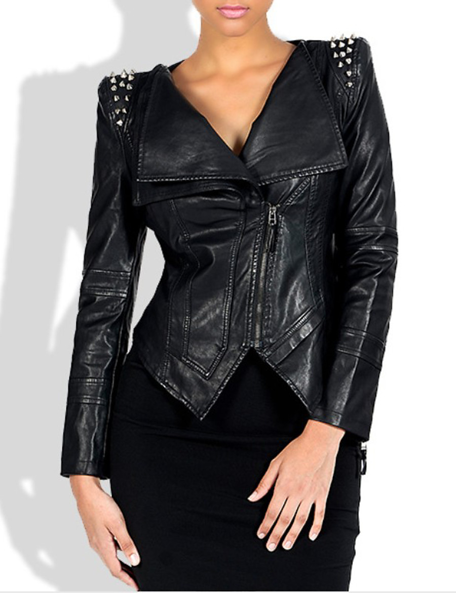 Women's Zipper Faux Leather Jacket Short Solid Colored Daily Punk & Gothic Black M L XL