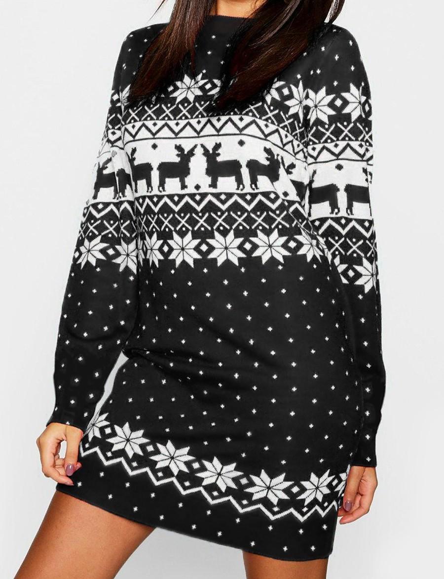 Women's Sweater Jumper Dress Short Mini Dress - Long Sleeve Print Print Fall Winter Casual Christmas 2020 Black Blue Red Green Light Blue S M L XL