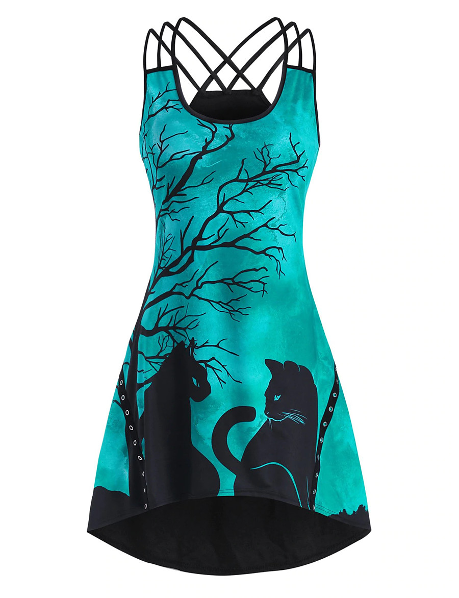 Women's Strap Dress Knee Length Dress - Sleeveless Print Animal Print Summer Boat Neck Casual Sexy Going out Weekend Slim 2020 White Purple Green S M L XL XXL