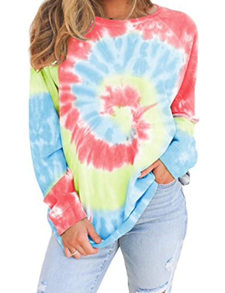 Women's Pullover Sweatshirt Tie Dye Daily Other Prints Basic Casual Hoodies Sweatshirts  Loose Blue Red Khaki