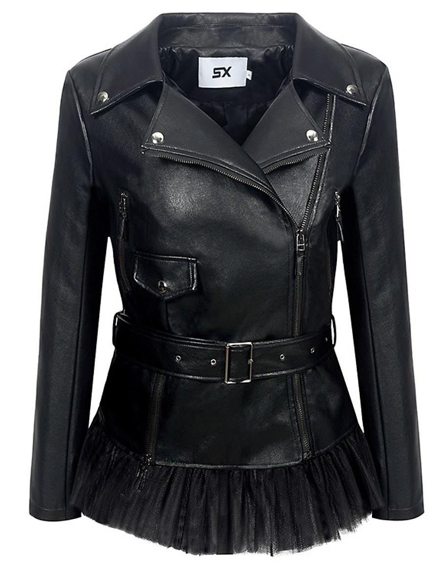 Women's Zipper Notch lapel collar Faux Leather Jacket Regular Solid Colored Daily Basic Black S M L XL