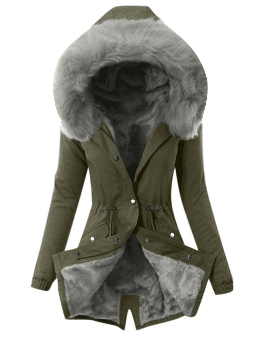 Womens Hooded Fleece Line Coats Parkas Faux Fur Jackets with PocketsS M L XL