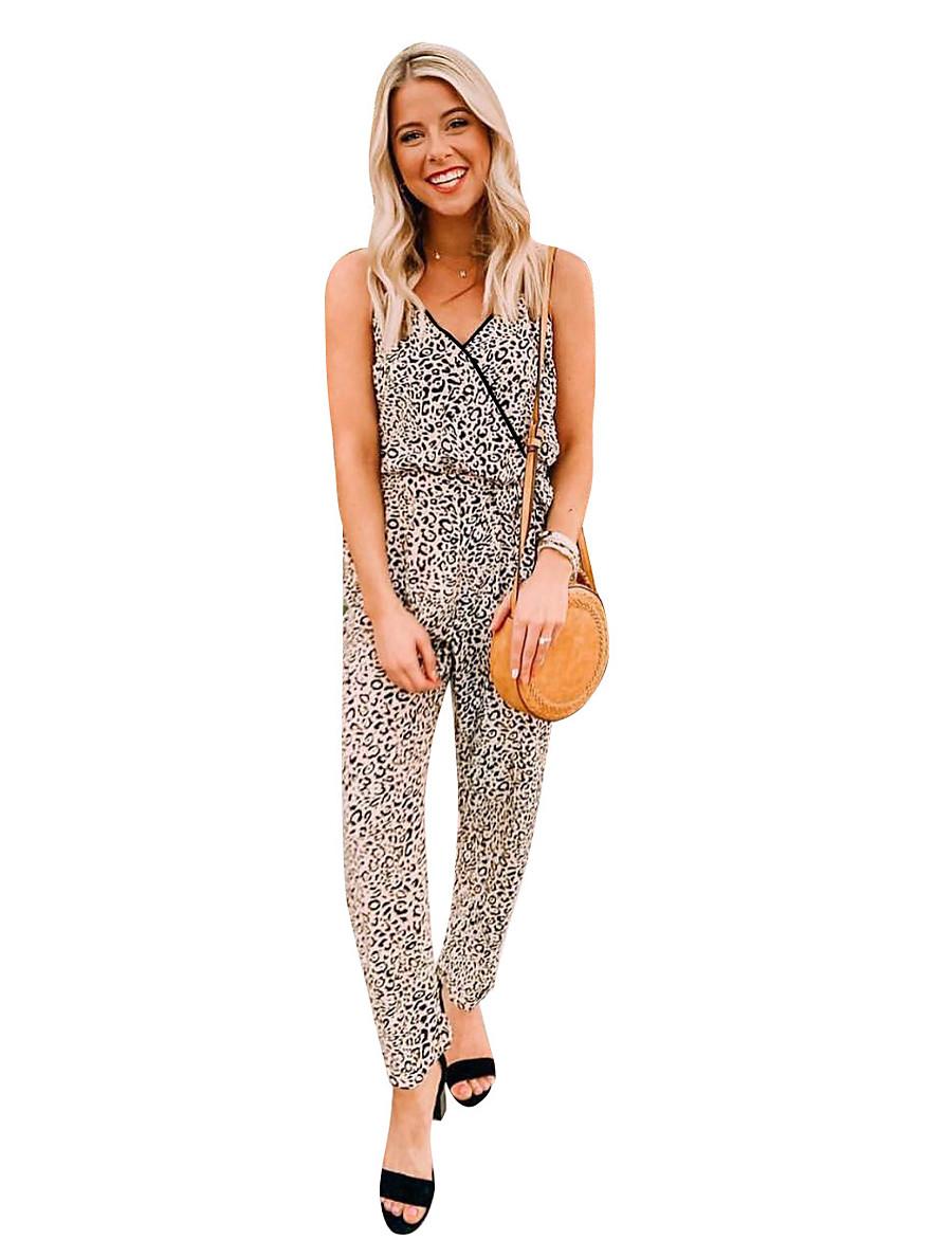 Women's Basic Black Beige Jumpsuit Leopard Print