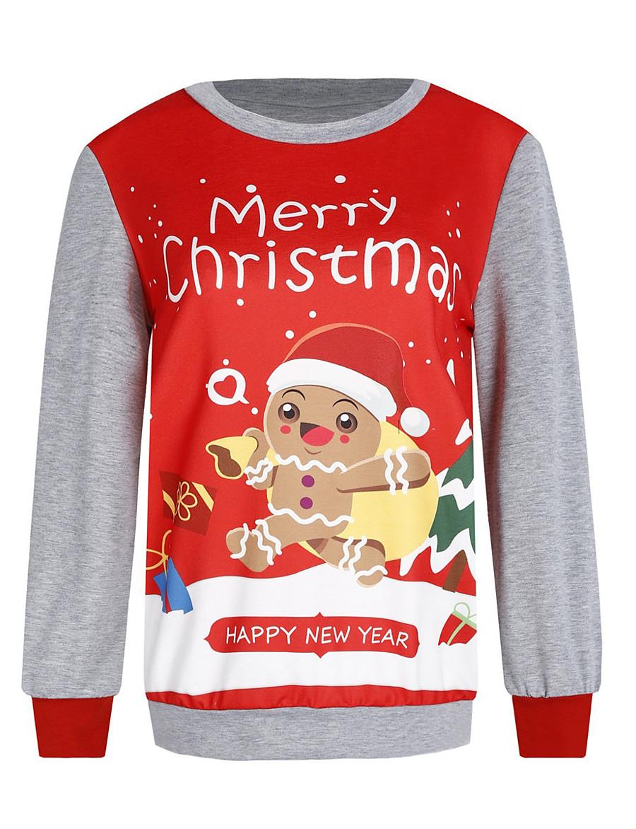 Women's Pullover Sweatshirt Graphic Other Prints Christmas Hoodies Sweatshirts  Loose Black Red Green