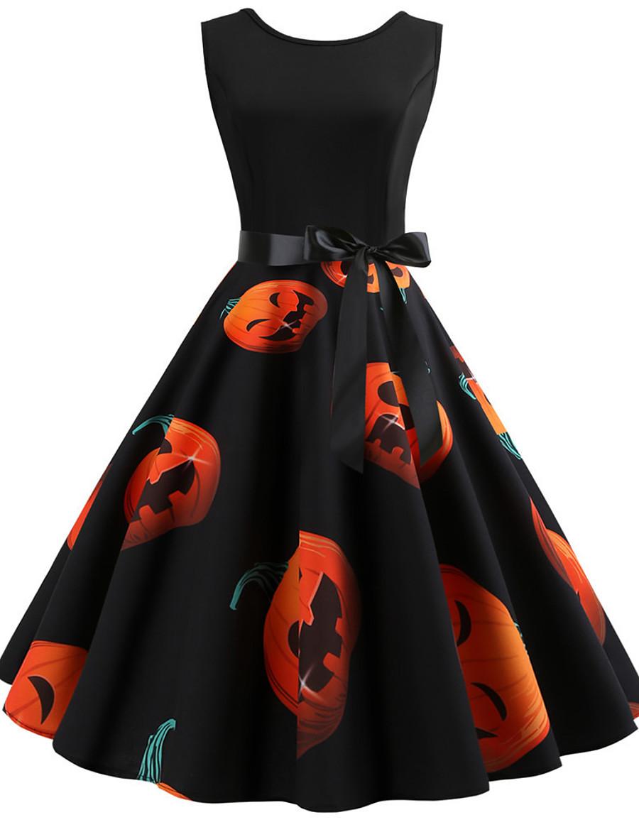 Women's Halloween A Line Dress Knee Length Dress White Black Red Orange Light Blue Sleeveless Santa Claus Pumpkin Print Patchwork Print Summer Round Neck Hot Vintage 2021 S M L XL XXL