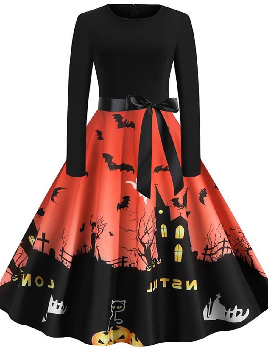 Halloween Women's A-Line Dress Knee Length Dress - Long Sleeve Pumpkin Bat Print Bow Patchwork Print Summer Hot Vintage Slim 2020 Blue Purple Wine Orange Green Gray Light Blue S M L XL XXL