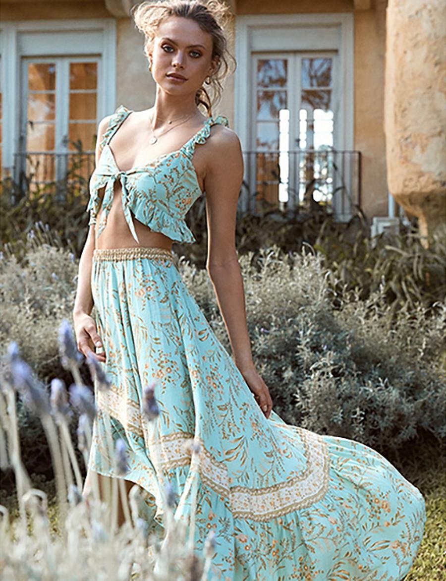 Women's Basic Geometric Two Piece Set Blouse Skirt Print Tops