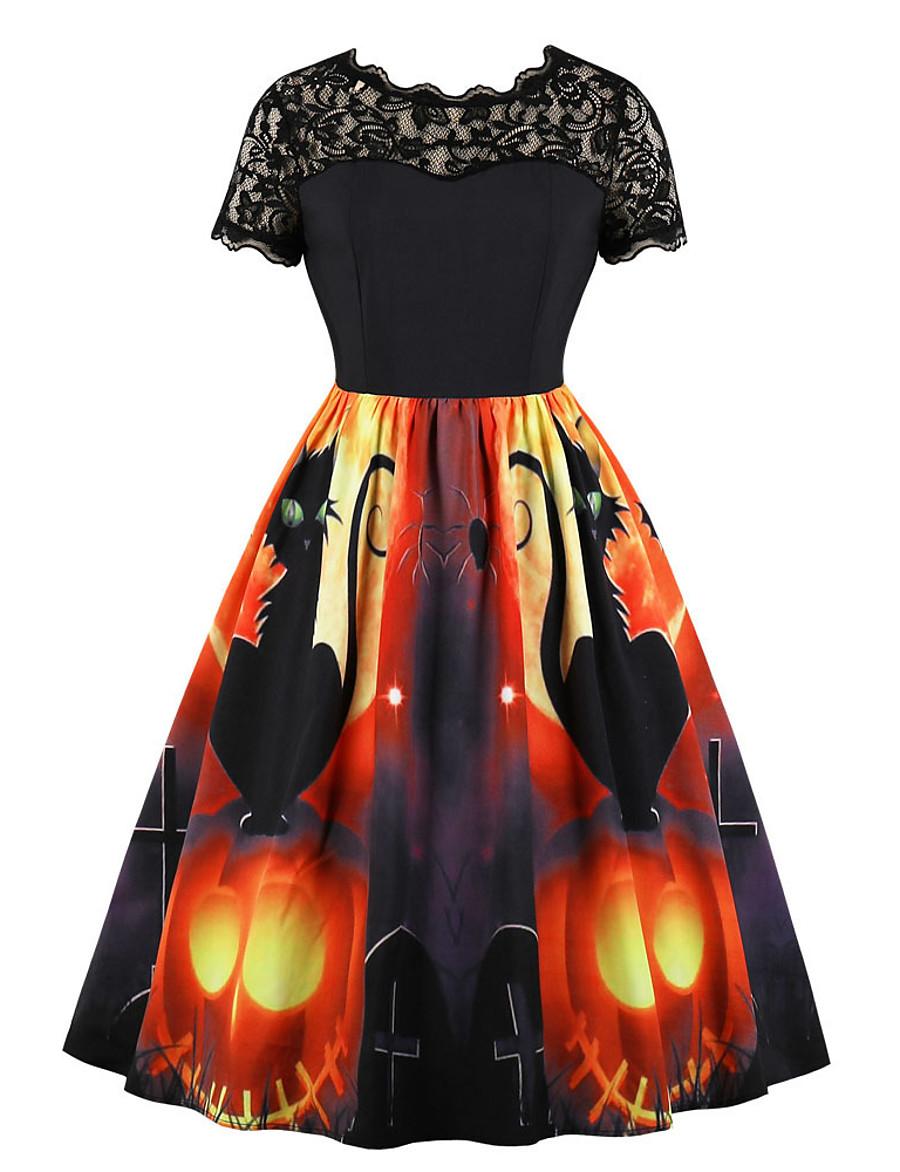 Halloween Women's A-Line Dress Knee Length Dress - Short Sleeve Cat Pumpkin Print Lace Patchwork Zipper Fall Hot Vintage Slim 2020 Orange S M L XL XXL