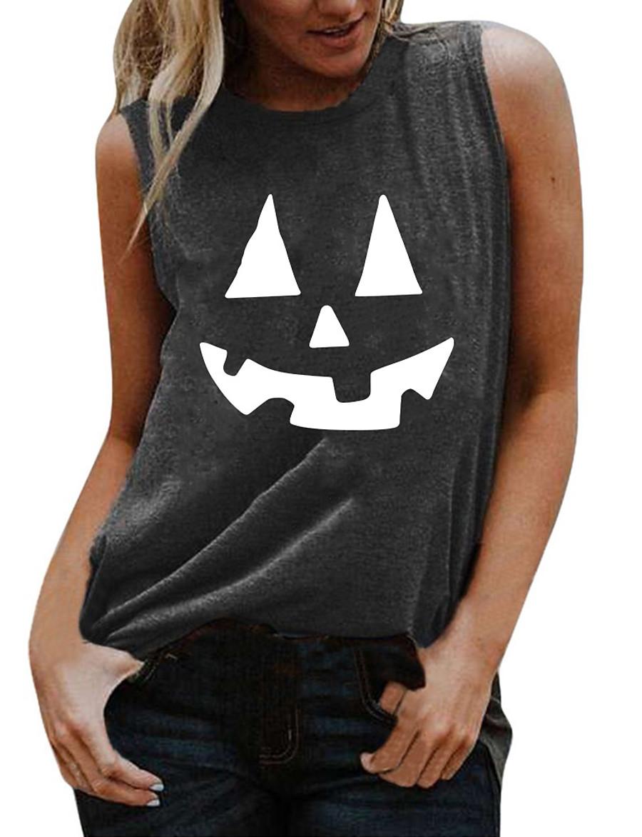 Women's Halloween Tank Top Graphic Prints Pumpkin Print Round Neck Tops Basic Halloween Basic Top White Black Blue