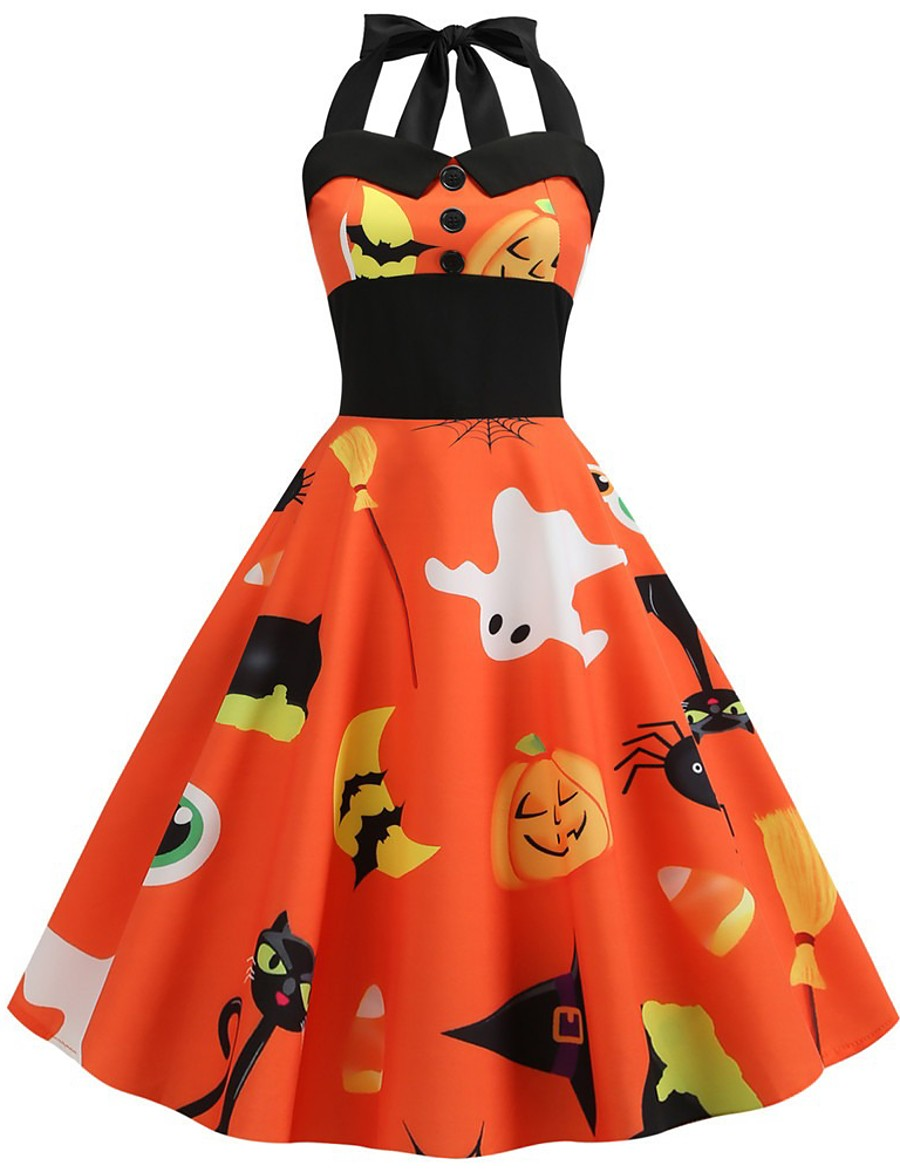 Halloween Women's A-Line Dress Knee Length Dress - Sleeveless Cat Pumpkin Bat Print Backless Patchwork Button Summer Halter Neck Vintage Slim 2020 White Black Blue Orange S M L XL XXL