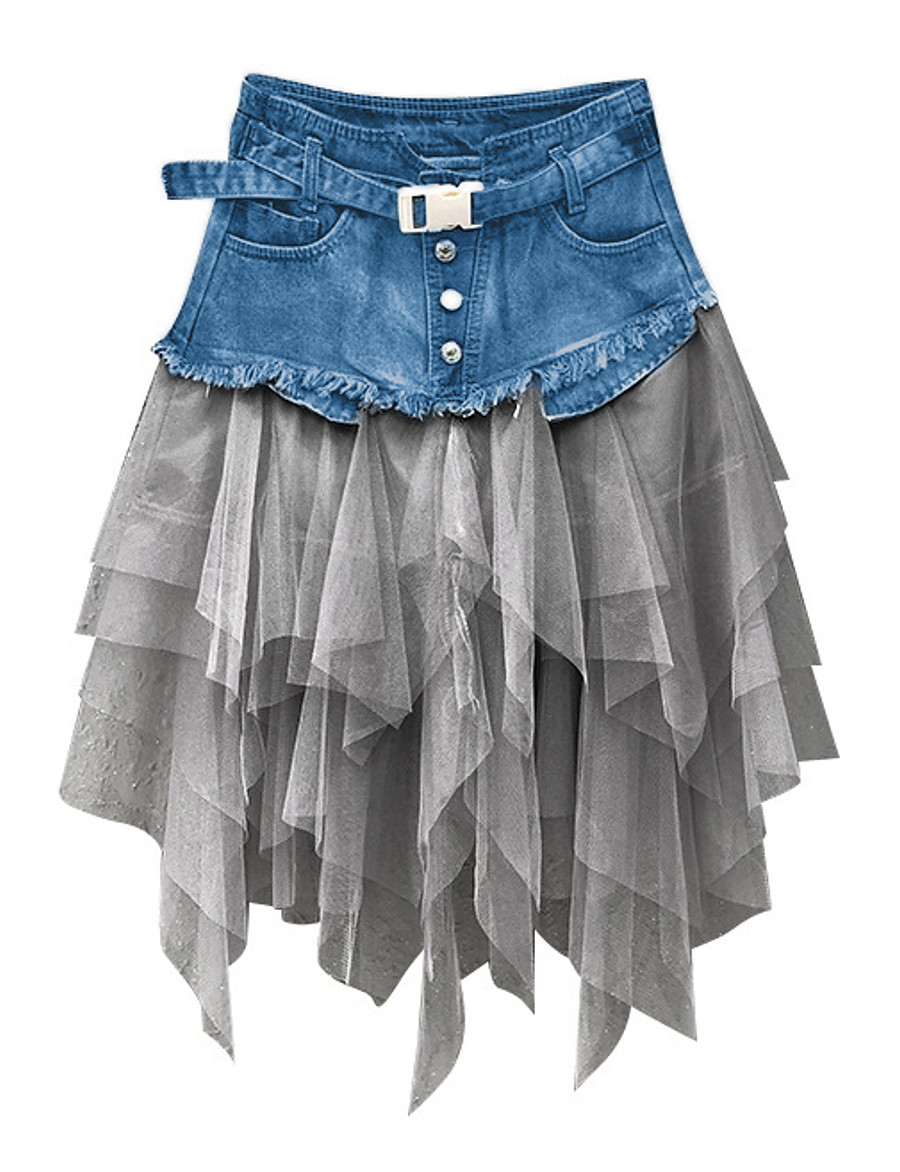 Women's Daily Wear Basic Denim Skirts Color Block Tulle Black Light Blue / Asymmetrical