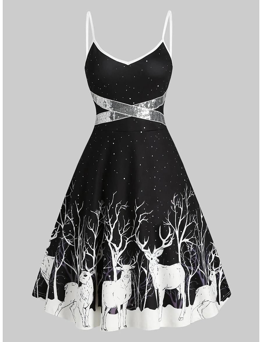 Women's Halloween Strap Dress Knee Length Dress Sleeveless Animal Sequins Patchwork Print Summer Hot Vintage 2021 Black Red S M L XL XXL 3XL