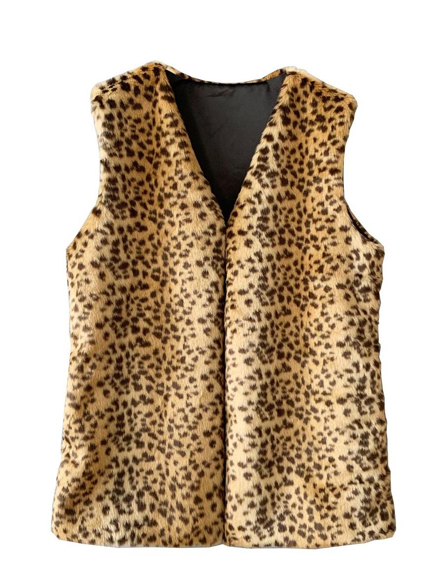 Women's Leopard Basic Fall & Winter Vest Long Daily Sleeveless Faux Fur Coat Tops Rainbow