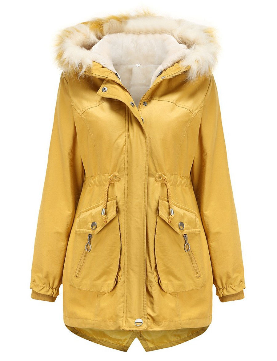 Women's Parka Parka Solid Colored Long Poly&Cotton Blend Black / Red / Yellow M / L / XL / Loose